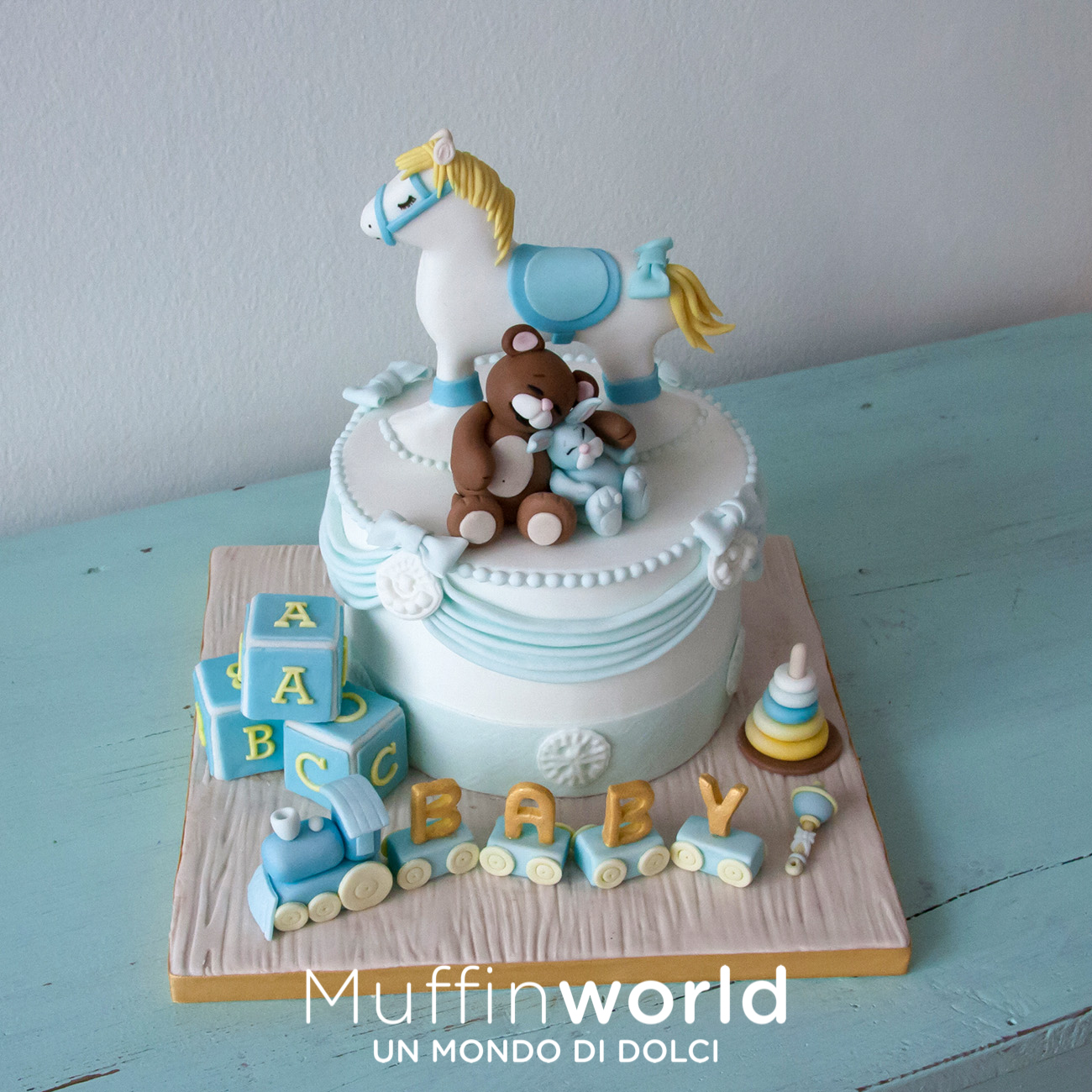 Cavallo A Dondolo Pasta Di Zucchero.Torte Di Battesimo E Baby Shower Muffinworld